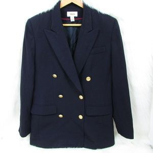 Talbots Double Breasted Navy Military Style Blazer